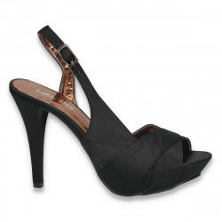 Sandale elegante, din satin, cu toc inalt, negre - LS95