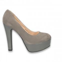 Pantofi glami dama, cu toc foarte inalt si platforma, gri - LS100