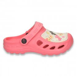 Saboti pentru fete, stil CROCS, cu imprimeu cu fluturasi, roz - LS115