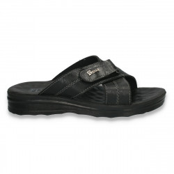 Papuci barbati din piele ecologica, negri - LS120