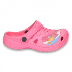 Saboti pentru fete, stil CROCS, imprimeu sirena, roz - LS131