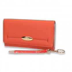 Portmoneu dama, cu imprimeu simplu, portocaliu - M26