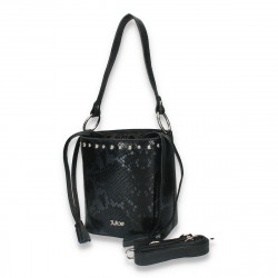 Poseta chic pentru dama, medie, cu imprimeu croco, neagra - M45