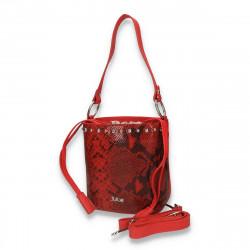 Poseta chic pentru dama, medie, cu imprimeu croco, rosie - M46