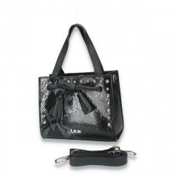 Poseta chic pentru dama, mica, cu imprimeu croco, neagra - M49