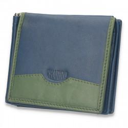 Portofel din piele pentru barbati, bleumarin-verde - M60