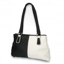 Poseta de zi, model clasic, din piele ecologica, alb-negru - M95