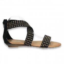 Sandale cu talpa joasa, cu barete in forma de X, negre - LS134