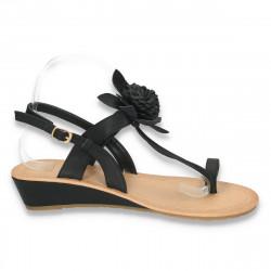 Sandale dama cu talpa joasa, infradito, negre - LS137