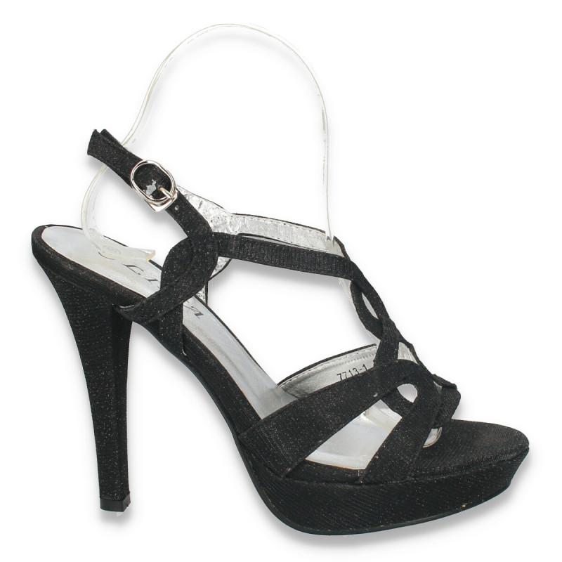 Sandale elegante, cu toc si platforma, negre - LS140