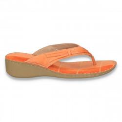Saboti dama infradito, din piele naturala, portocalii - LS141