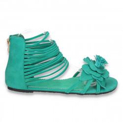 Sandale dama cu talpa joasa, cu decoratiune tip floare si bretele subtiri, verzi - LS142