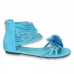 Sandale dama cu talpa joasa, cu decoratiune tip floare si bretele subtiri, albastre - LS143