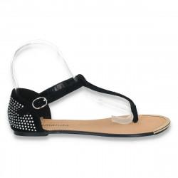 Sandale infradito, negre, cu strasuri la calcai - LS148