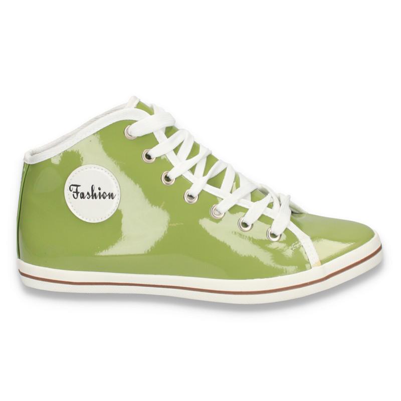 Bascheti fashion, din piele eco lacuita, pentru femei, verzi - LS150