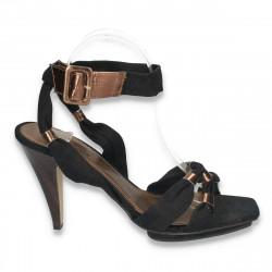 Sandale elegante, din material textil, cu toc si platforma, negre - LS154