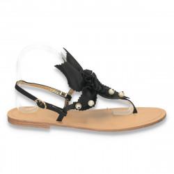 Sandale dama infradito, cu talpa joasa, negre - LS156