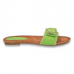 Papuci dama cu fundita si talpa joasa, verzi - LS157