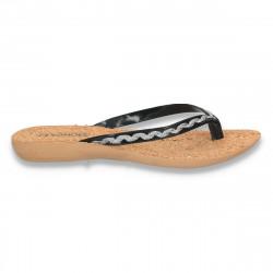 Papuci dama infradito, cu talpa din pluta, negri - LS160