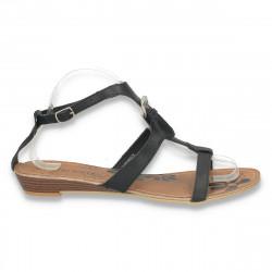 Sandale cu talpa joasa, din piele, negre - LS161