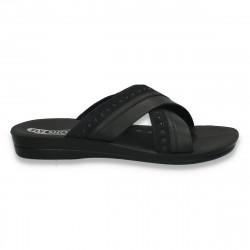 Papuci barbati din piele ecologica, negri - LS168