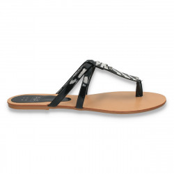 Papuci dama infradito, din piele ecologica lacuita - LS170