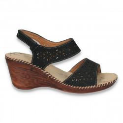 Sandale dama, cu platforma mica si imprimeu floral - LS172