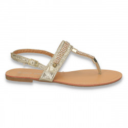 Sandale infradito, aurii, cu strasuri - LS173