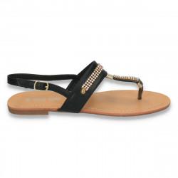 Sandale infradito, negre, cu strasuri - LS175