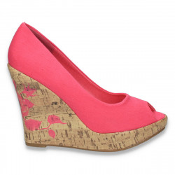 Pantofi din material textil, cu platforma inalta, fucsia - LS178