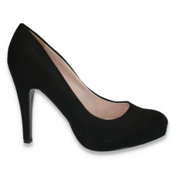 Pantofi eleganti, din imitatie de velur, cu toc, negri - LS180