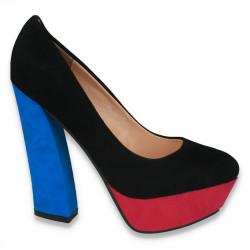 Pantofi imitatie velur, cu toc masiv, in 3 culori - LS185