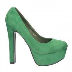 Pantofi imitatie velur, cu toc masiv si platforma, verzi - LS186
