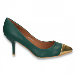Pantofi eleganti, cu varf auriu si toc mic,  verzi - LS189