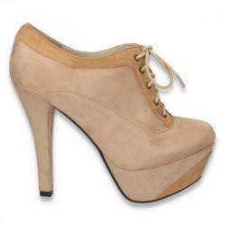 Pantofi femei cu siret, platforma si toc inalt, camel - LS191