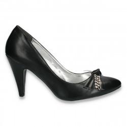 Pantofi eleganti cu fundita franjurata, negri - LS193