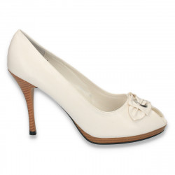 Pantofi dama, din piele eco, albi - LS198