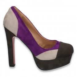 Pantofi dama, cu toc masiv, in combinatie de 3 culori - LS199