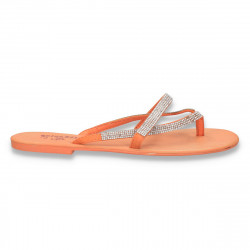 Papuci dama infradito, cu strasuri, portocalii - LS200
