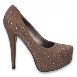 Pantofi glami, cu platforma ascunsa si strasuri, taupe - LS201