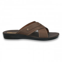 Papuci barbati, model simplu, din piele ecologica, maro - LS203