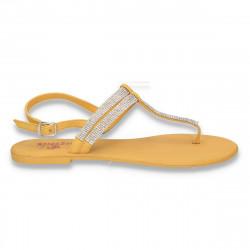 Sandale dama infradito, cu strasuri, galbene - LS206