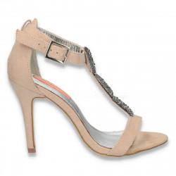 Sandale elegante pentru dama, cu bareta si sclipici, bej - LS210