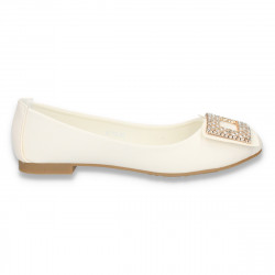 Balerini eleganti dama, cu decoratiune cu strasuri, albi - LS213