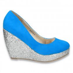 Pantofi glami dama, cu platforma inalta cu sclipici argintiu, albastru deschis - LS216