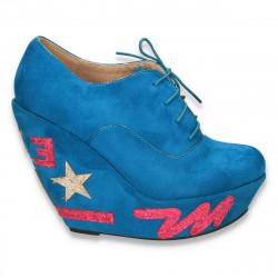 Pantofi fashion dama, cu platforma inalta, albastri deschis - LS217