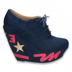 Pantofi fashion dama, cu platforma inalta, bleumarin - LS218