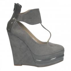 Incaltaminte dama, fashion, platforma inalta, gri - LS219