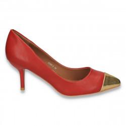 Pantofi eleganti, cu varf auriu si toc mic,  bordeaux - LS222