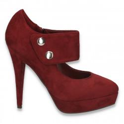 Pantofi cu toc inalt si bareta, bordeaux - LS225